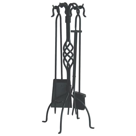 Uniflame Fireplace Tools by Uniflame Black Wrought Iron 5 Fireplace Tool Set With Center Weave F 1053 The Home Depot