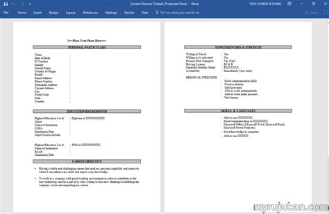 format cv terbaik download template resume bahasa melayu myrujukan