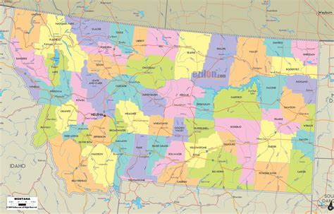 montana in usa map detailed political map of montana ezilon maps