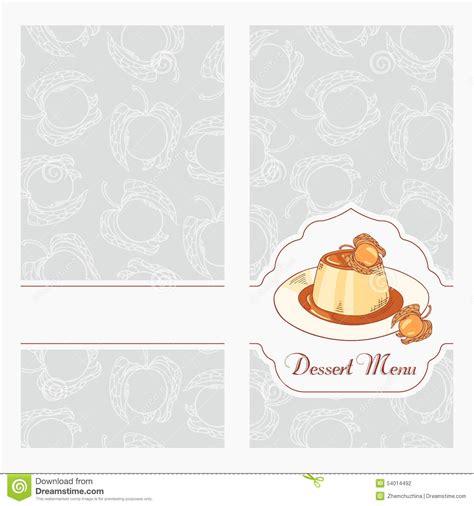 Dessert Menu Template Design For Cafe Creme Caramel On Plate In Vector Stock Vector Dessert Menu Template