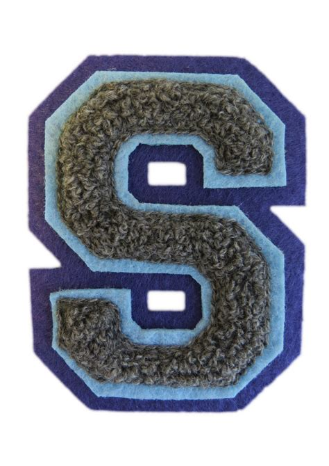 machine embroidered varsity letter s