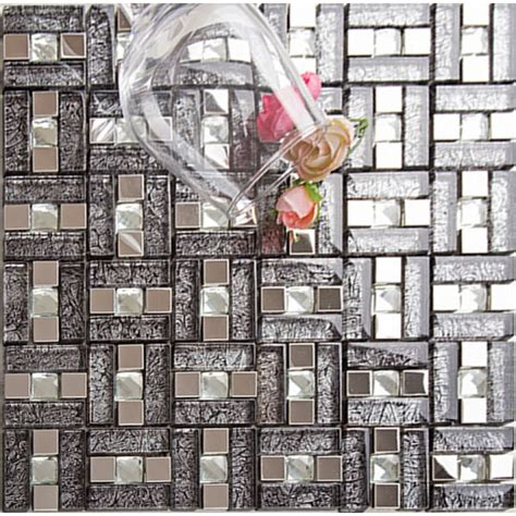 silver 304 stainless steel mosaic tile black glass
