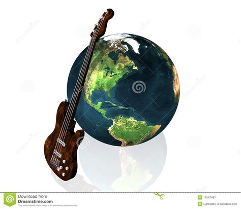earth and guitar royalty free stock photography image