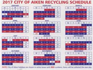 Trash Schedule Aiken City Recycling Schedule To Change Monday