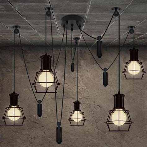 Hanging Bulb Chandelier Vintage Industrial Nordic Loft Edison Bulb Chandelier Retro Ceiling Spider Pendants Antique
