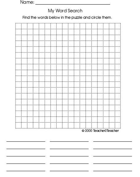 word sleuth template blank wordsearch grids teaching ideas