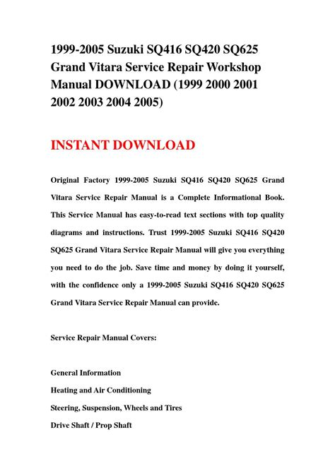 book repair manual 1999 suzuki vitara parking system 1999 2005 suzuki sq416 sq420 sq625 grand vitara service repair workshop manual download 1999