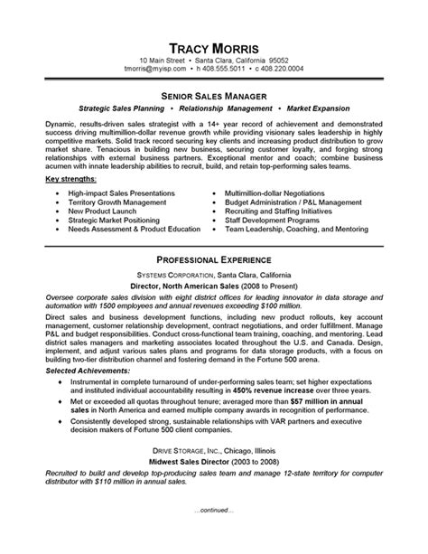 resume sles for sales manager careerperfect 174 sales management sle resume