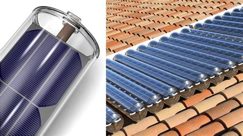 Solar Panel In A Tube Generates Power And Hot Water At The Solar Light Collector