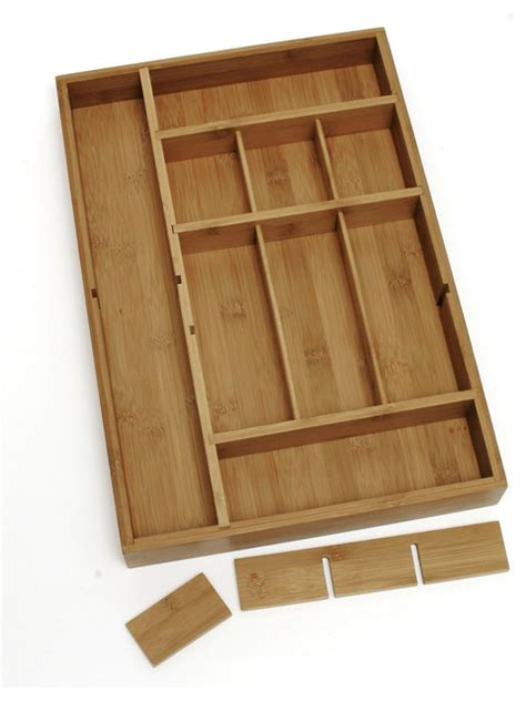 Kitchen Drawer Organizer Bamboo Organizer With 3 Removable Dividers Contemporary