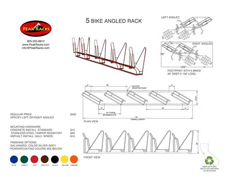 Angled Bike Rack by Angled Rack Spec Sheets