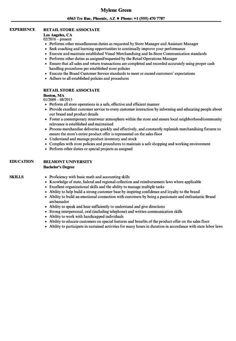 Store Associate Resume