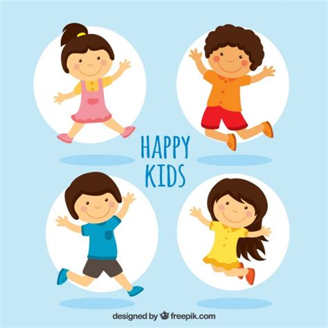 Happy Kids Illustration Vector   Free Download