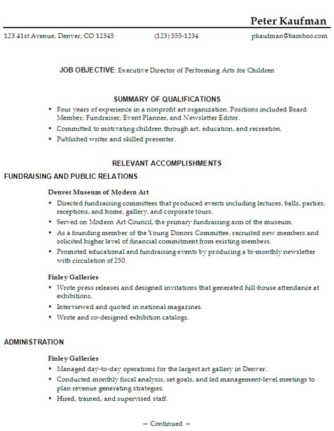 Performing Arts Resume Template by Resume Sle Executive Director Performing Arts