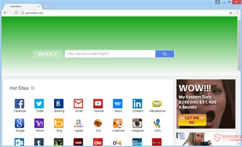 remove gotowebs redirect how to technology and pc security forum sensorstechforum
