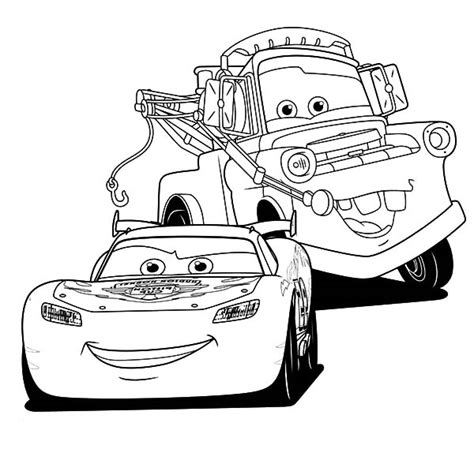 mater lightning mcqueen and tow mater coloring pages