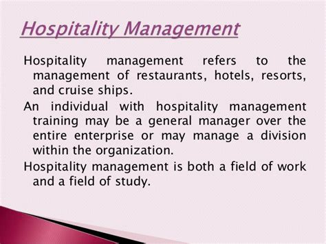 hospitality management unit4