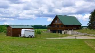 log home on 107 acres of northern michigan heaven log