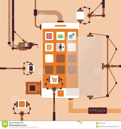 mobile software application vector concept of mobile software application development