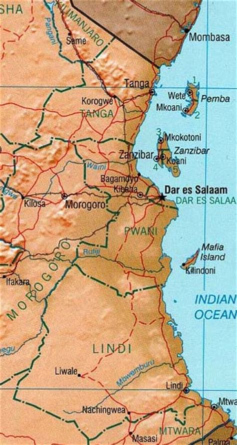 5 themes of geography tanzania tanzania maps including outline and topographical maps