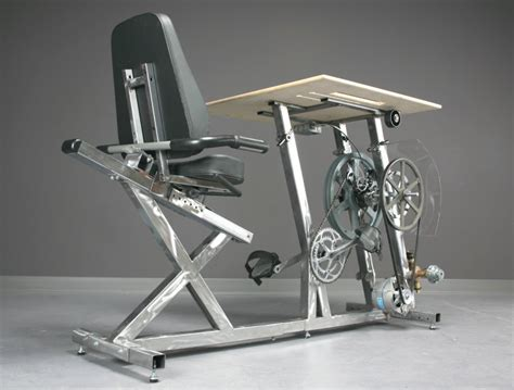 pedal machine desk this bicycle desk charges computer business insider