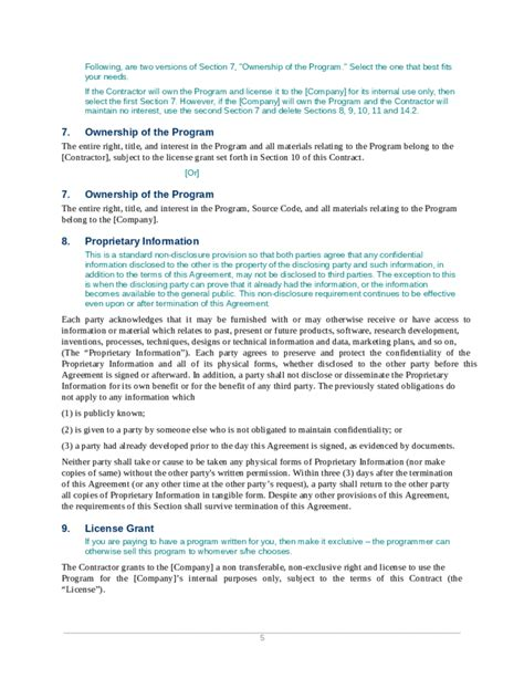 software contract agreement template contract template for software development free peddlacb