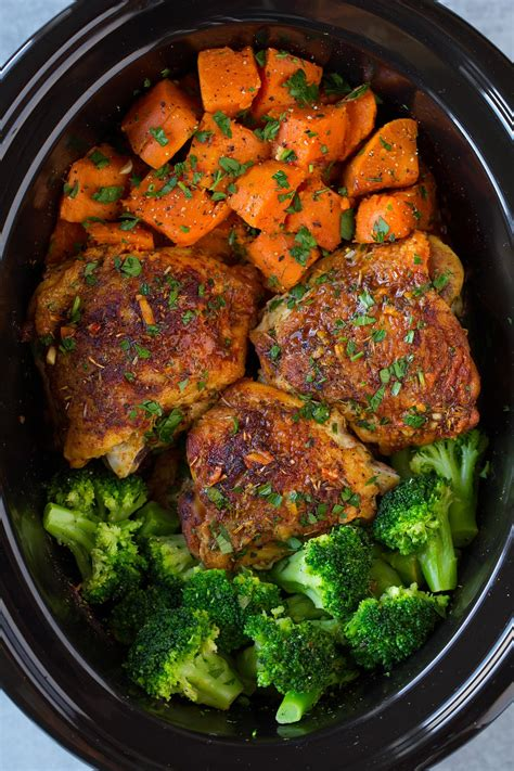 potatos egg slow cooked cooker chicken with sweet potatoes and broccoli cooking