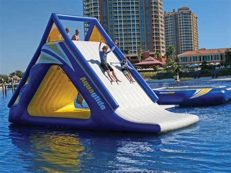 aquaglide pontoon slide watertrolines aquaglide summit water slide and climber