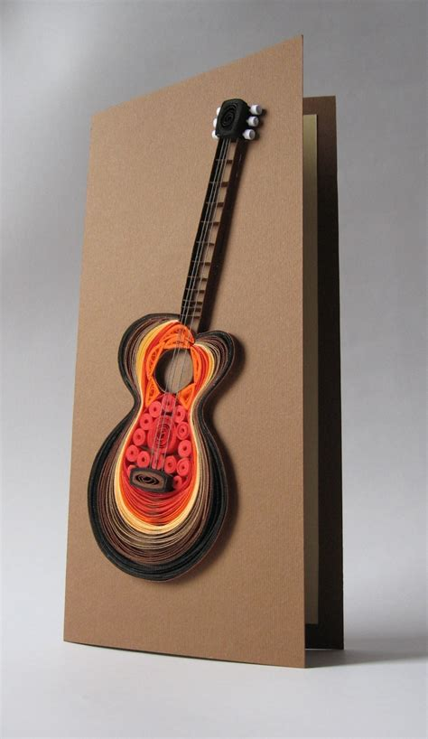 How To Make A Paper Guitar That Works - quilled guitar card by marina quilling