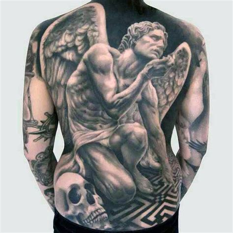 kneeling angel tattoo 100 guardian tattoos for spiritual ink designs
