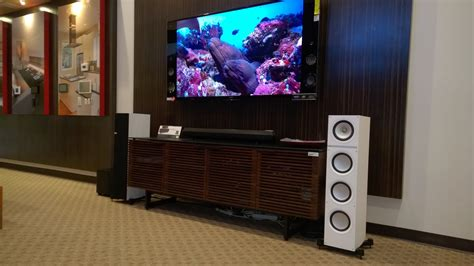 kef q700 white floorstanding with sony 4k at monaco audio