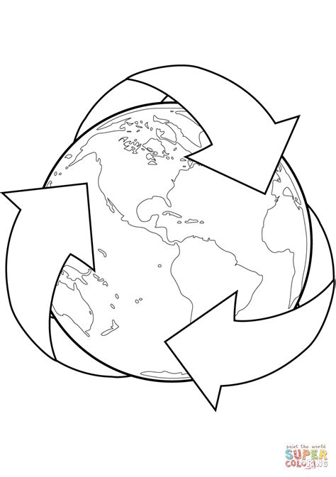 Recycle Sign with Earth coloring page | Free Printable