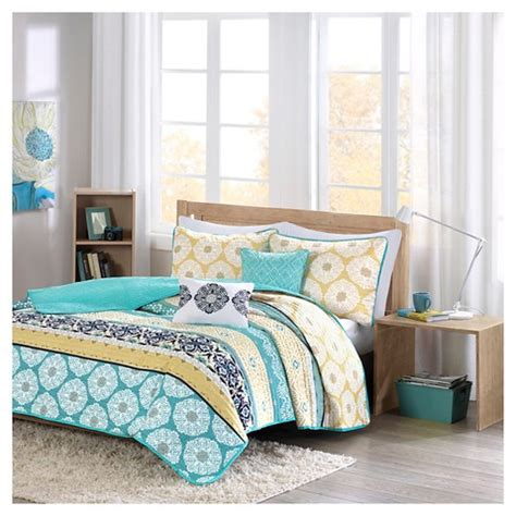 yellow quilted coverlet aneesa global print quilted coverlet set teal yellow