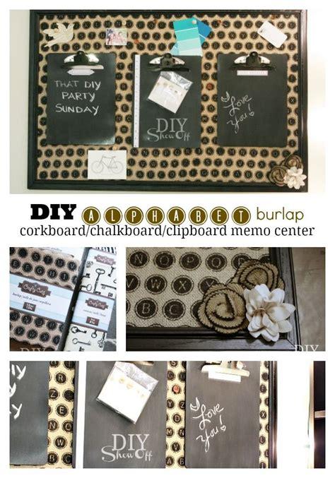 diy chalkboard cork board diy alphabet burlap corkboard message center burlap