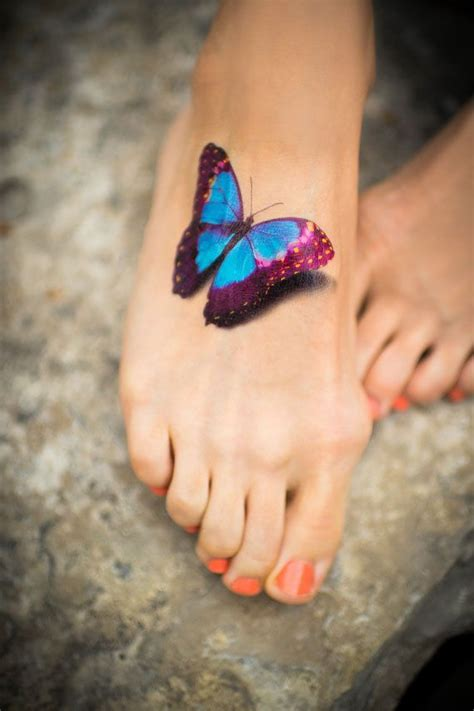 3d tattoo on foot 50 amazing 3d butterfly tattoos