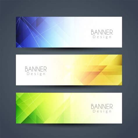 banner images three geometric banners with different colors vector