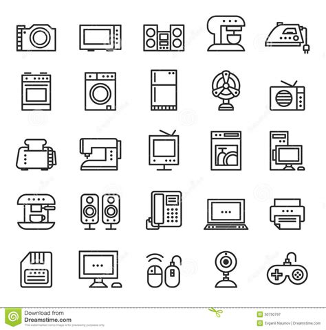 Toaster Kettle Set Home Appliances And Equipment Icons Vector Modern Stock