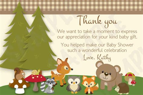 theme line forest friend woodland friends forest animals theme baby shower thank