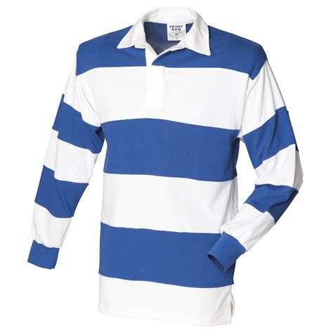 Wst 18980 Blue Stripe Shoulder Top 1 front row sewn stripe sleeve sports rugby cotton polo