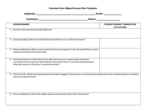 ela ccss lesson plan template common core lesson