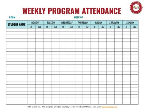 daycare sign in sheet template weekly
