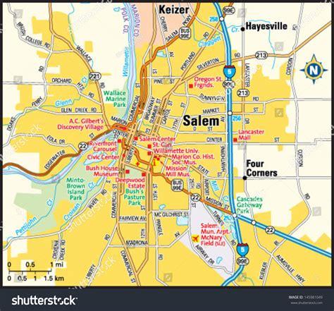 map of salem oregon salem oregon area map stock vector 145981049