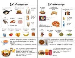 tarea para el fin de semana: el menu del desayuno y el