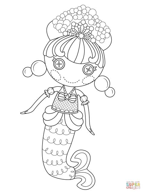 lalaloopsy bubbly mermaid coloring page free printable
