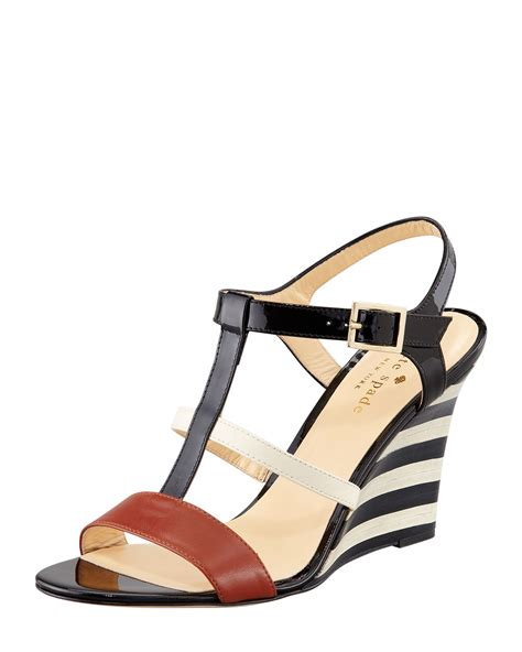 Sandal Wedges Kate Spade kate spade irina patent striped wedge sandal in black lyst