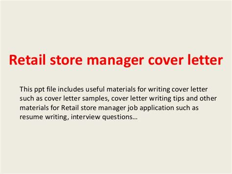 Fashion Showroom Manager Cover Letter by Retail Store Manager Cover Letter