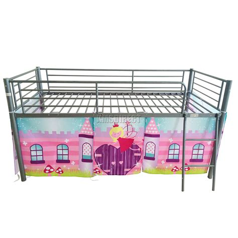 Metal Sleepers by Foxhunter Childrens Metal Mid Sleeper Cabin Bunk Bed