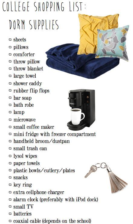 College Room Shopping List by College Shopping List Supplies What To Bring