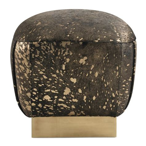 ottoman gold huxley hollywood regency black cowhide gold ottoman