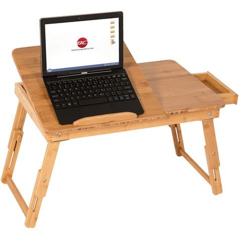 bamboo laptop desk 100 bamboo adjustable laptop desk table tilting top drawer breakfast bed tray ebay